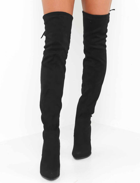 Vanessa Thigh High Boot - Black