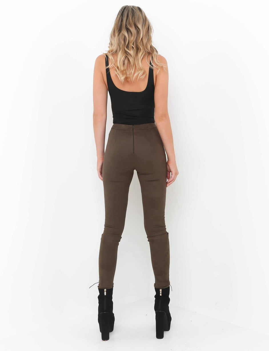 Vanity Lace Up Pant - Brown