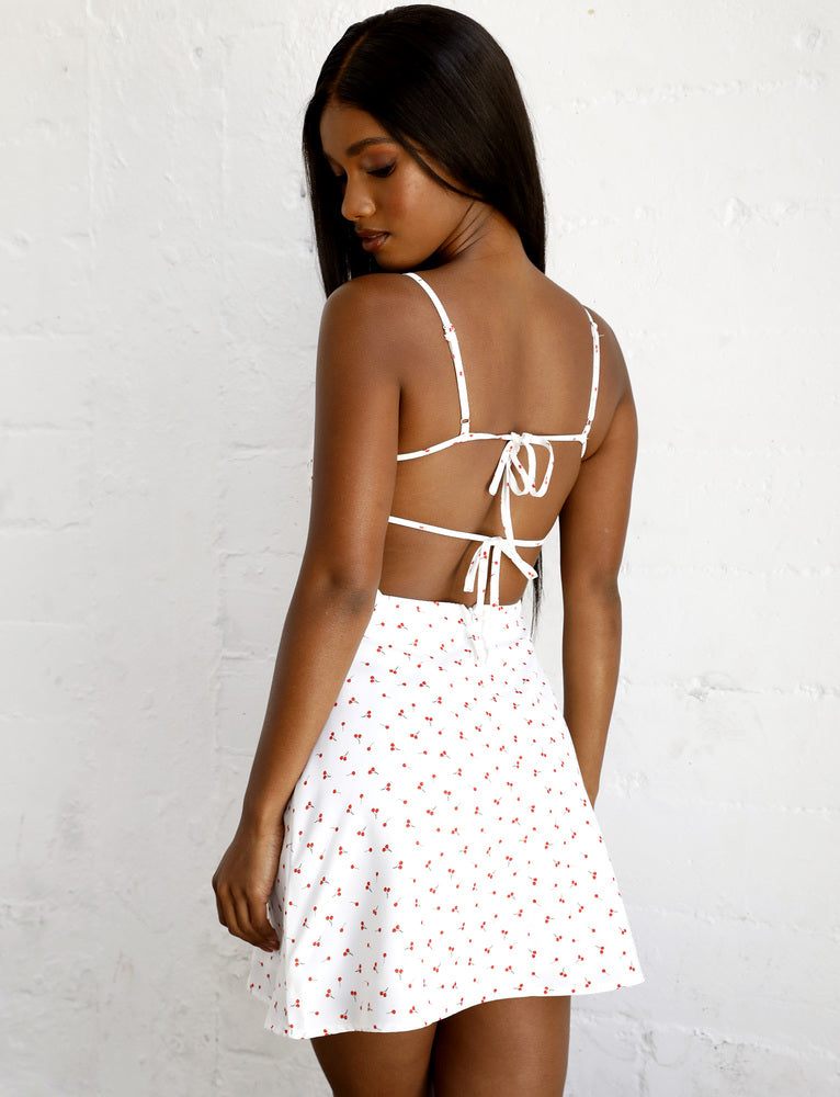 Jorj Dress - White Cherry Print