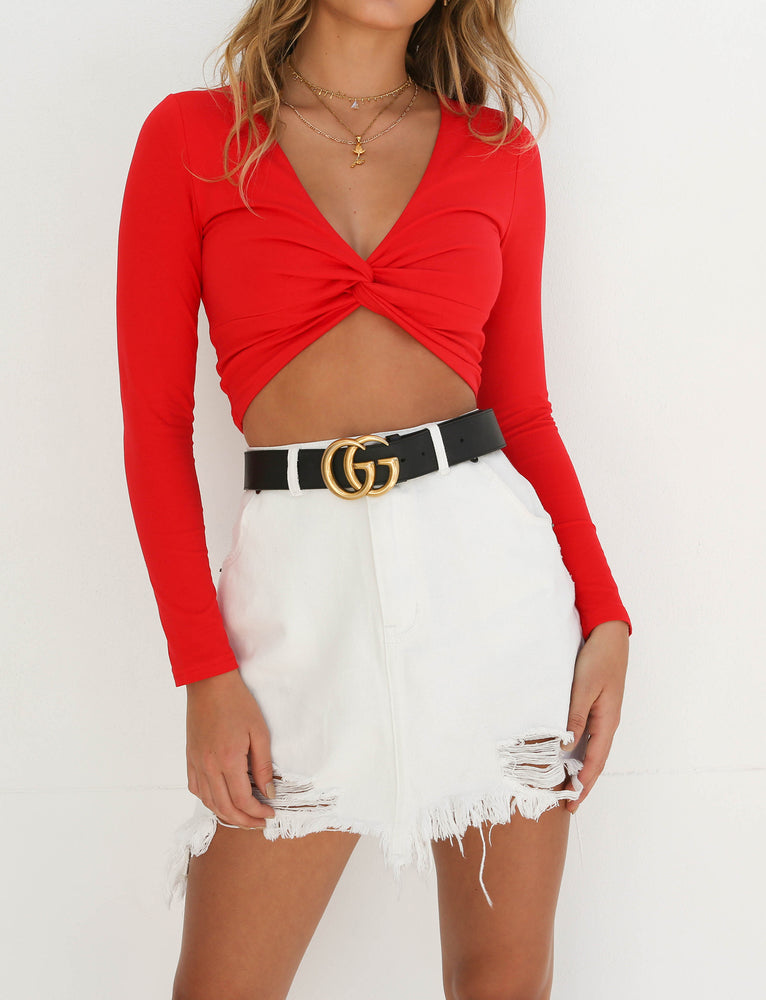 Tahni Long Sleeve Crop - Red