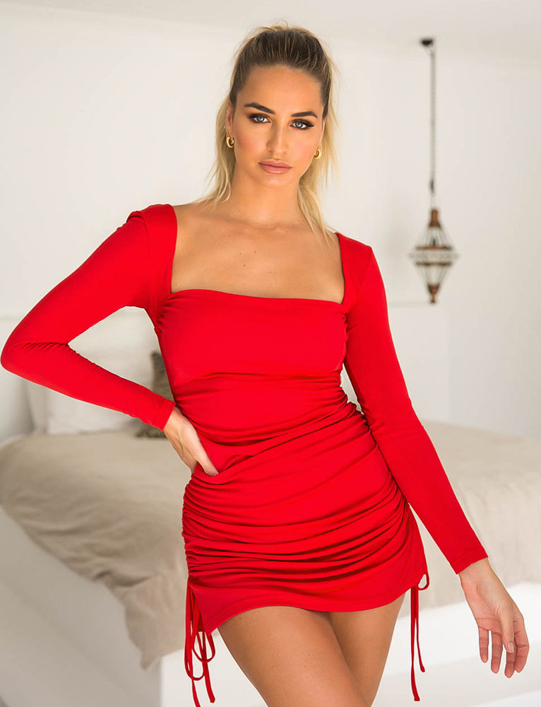 Porto Long Sleeve Dress - Red