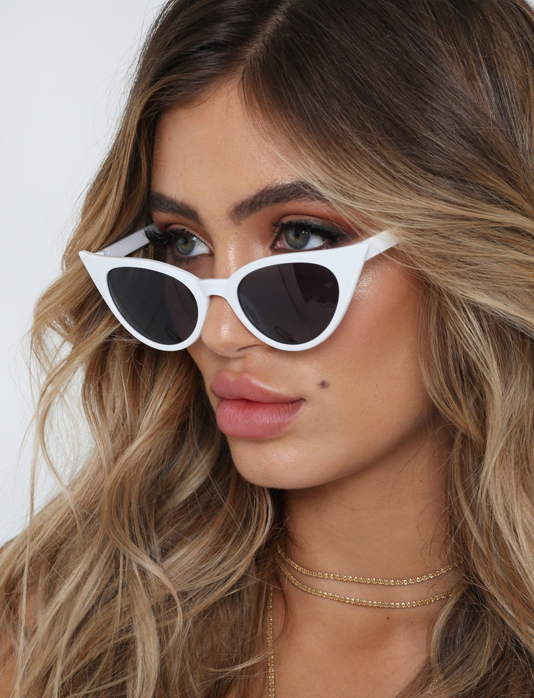Shes A Lady Sunglasses - White