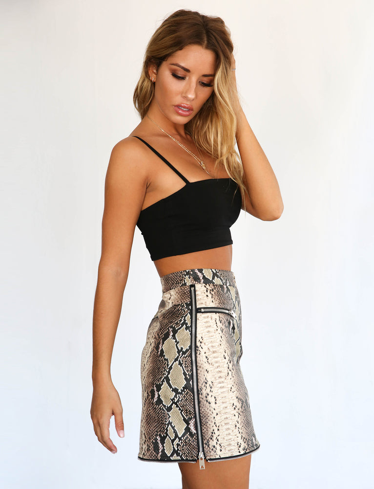 Jagger Skirt - Brown Snakeskin