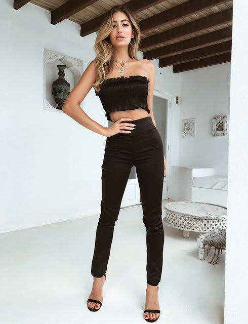 Back It Up Satin Pant - Black Satin