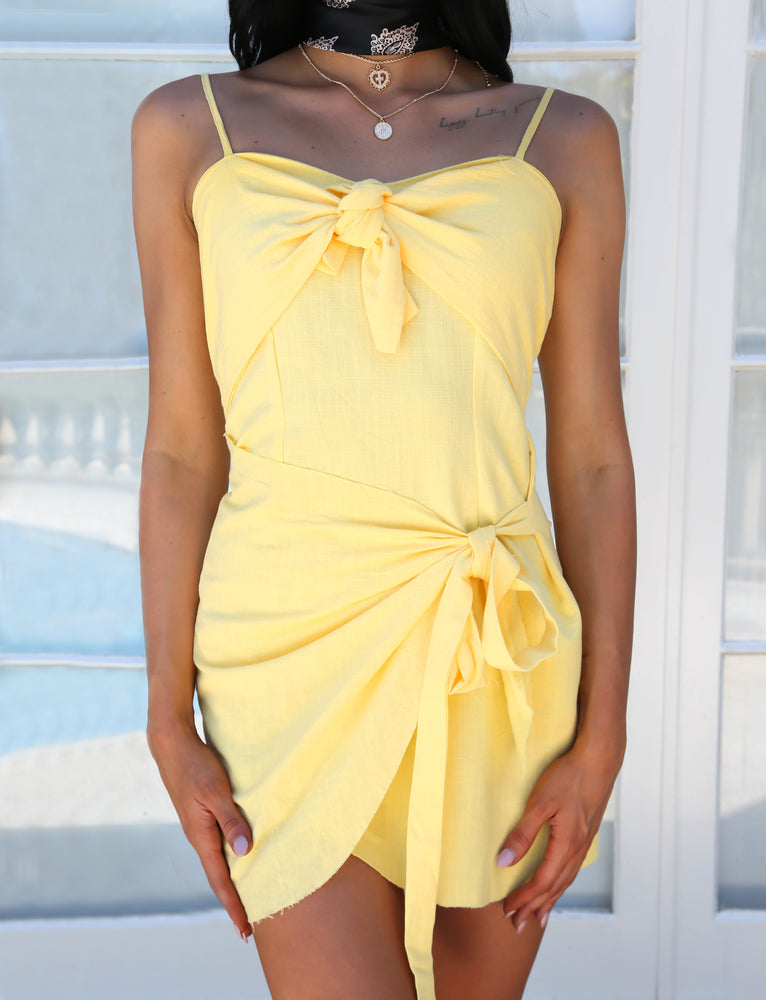 Melody Wrap Mini Dress - Yellow