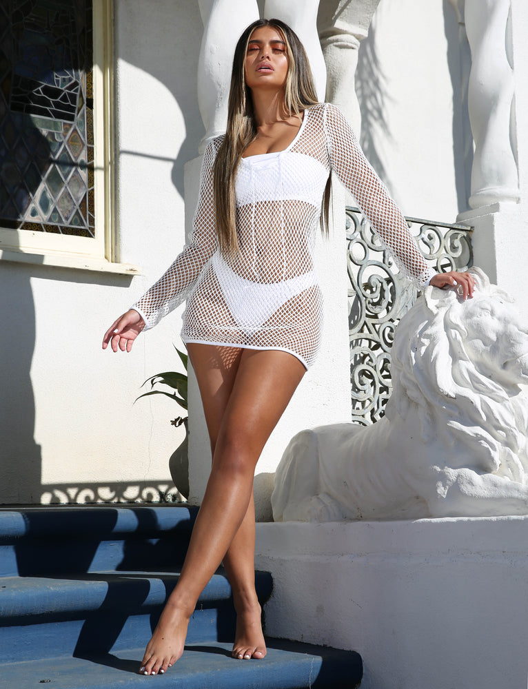 Rumi Crochet Dress - White