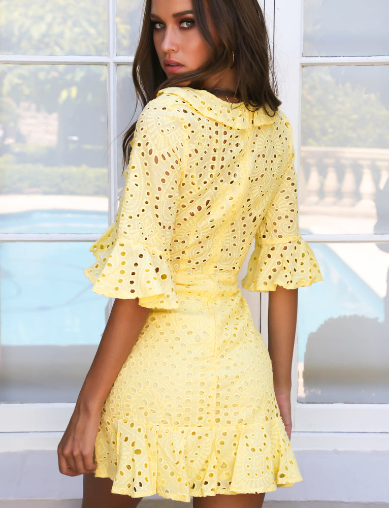 Imogen Frill Dress - Yellow