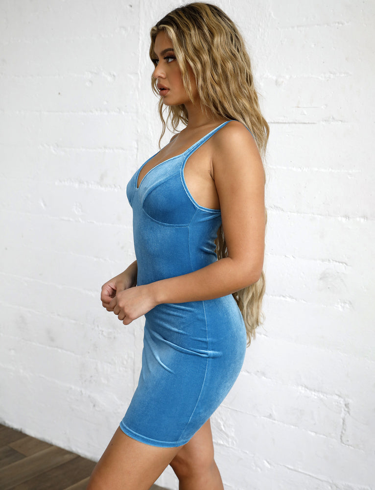 Arron Dress - Blue Velvet
