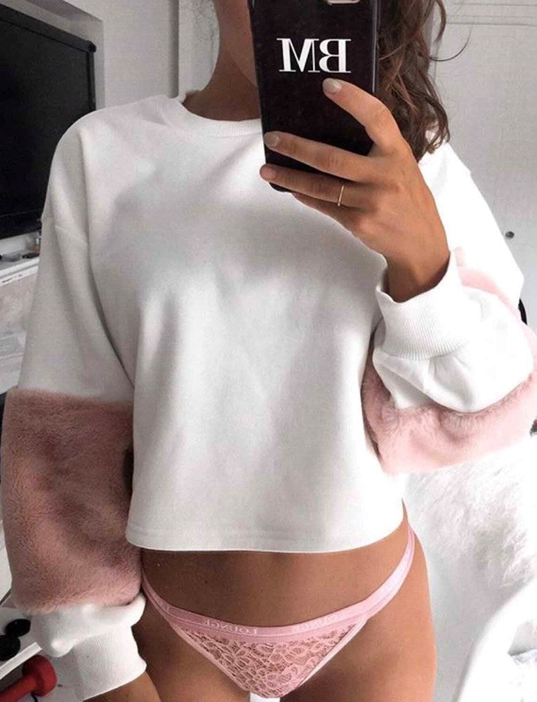 Luella Jumper - White With Pink Fur
