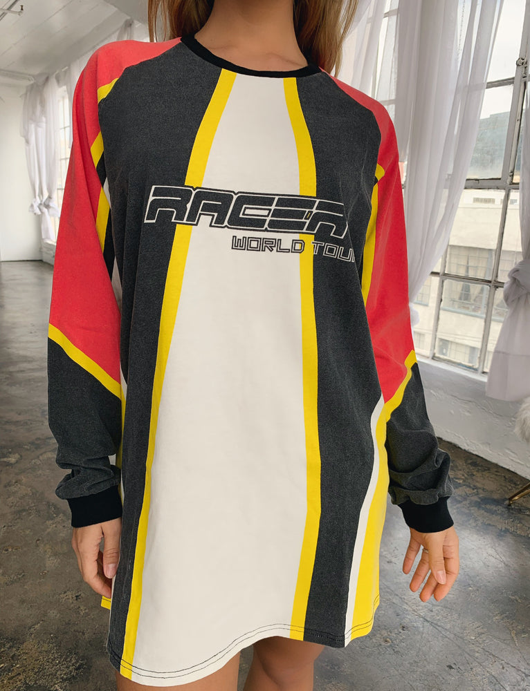 Racer Dress - Black/White/Yellow