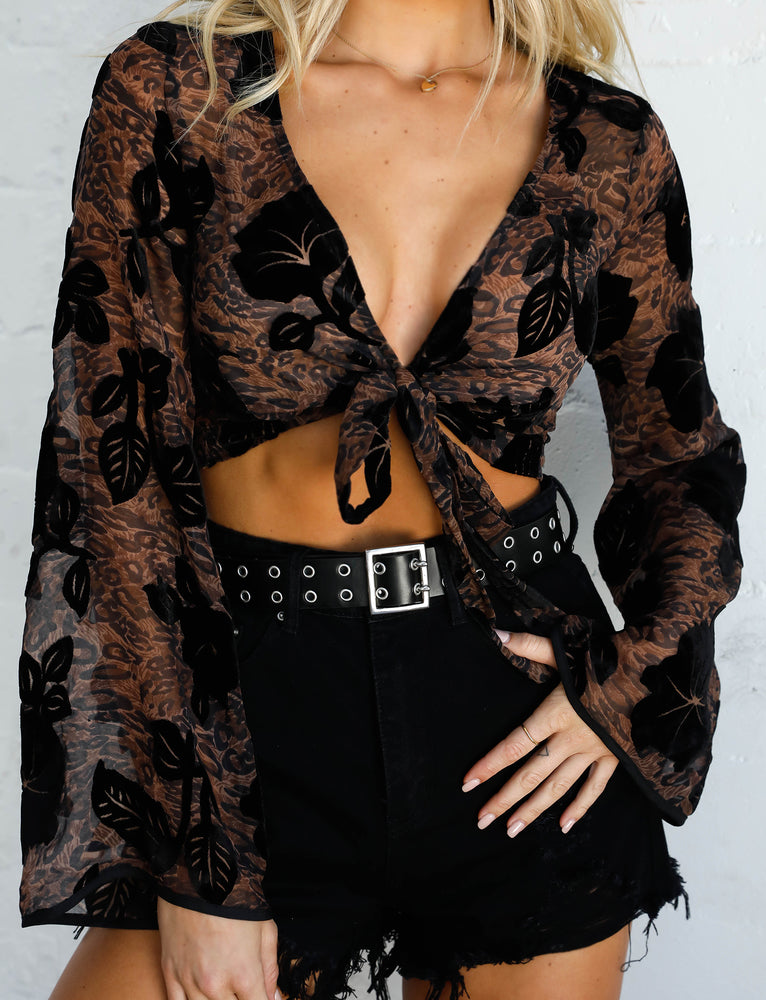 Kahlo Top - Leopard Burnout