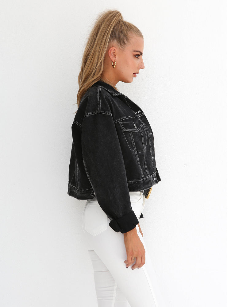 Bikers Denim Jacket  - Black