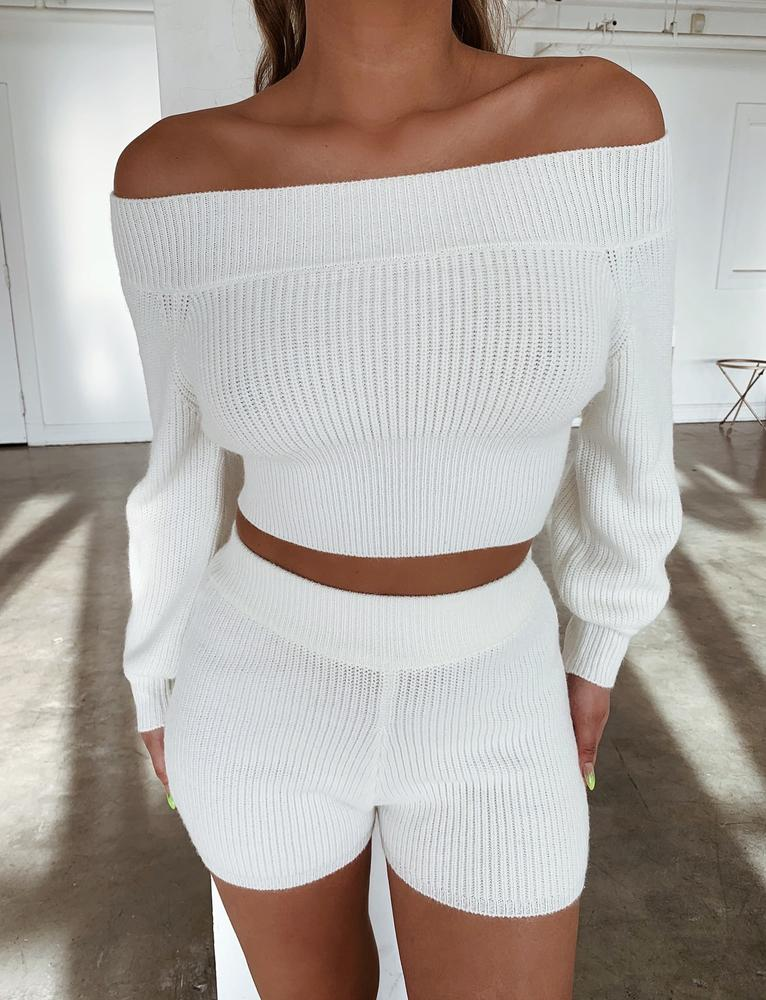 Nolana Knit Shorts - White
