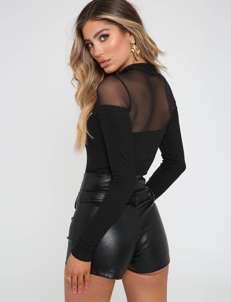 Ashleigh Top - Mesh/Rib Black