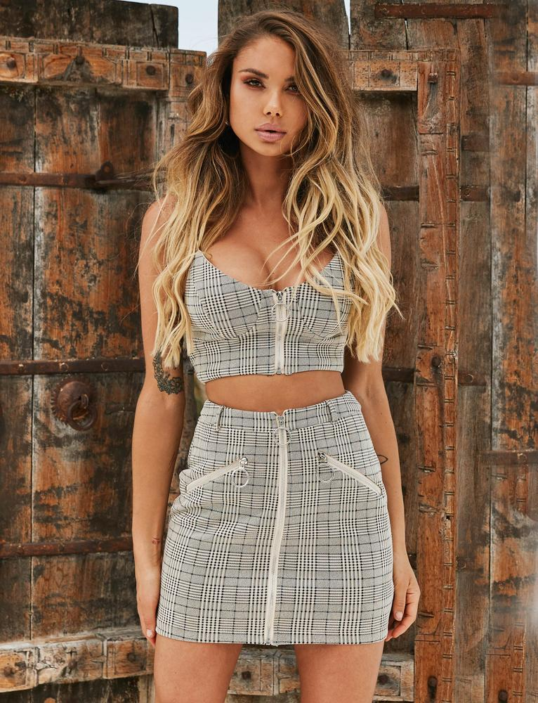 Raven Top - Grey Check