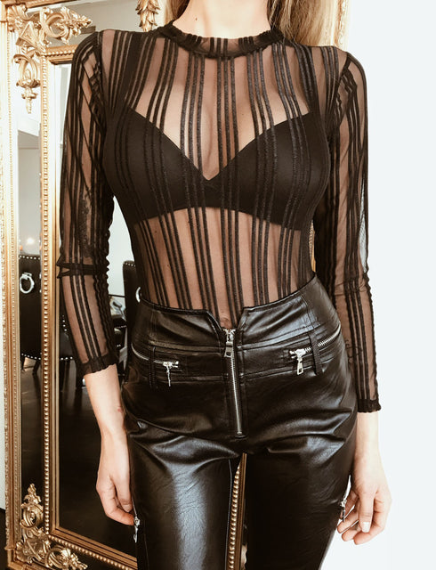 Linear Bodysuit - Black