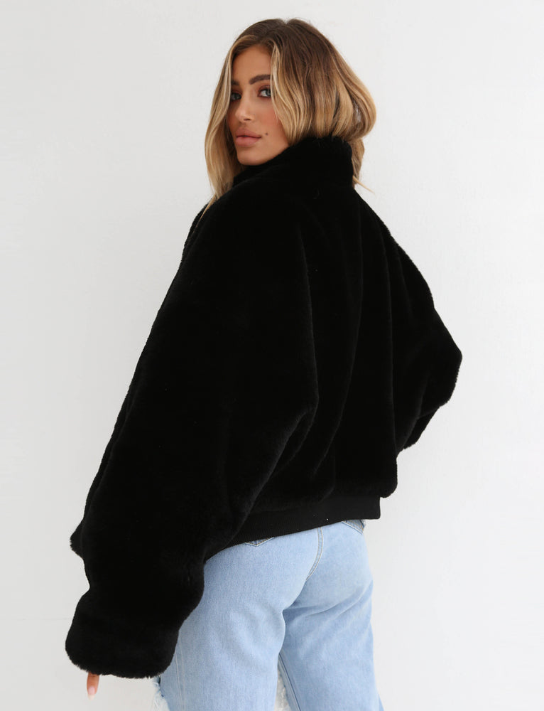 Libra Fur Bomber - Black
