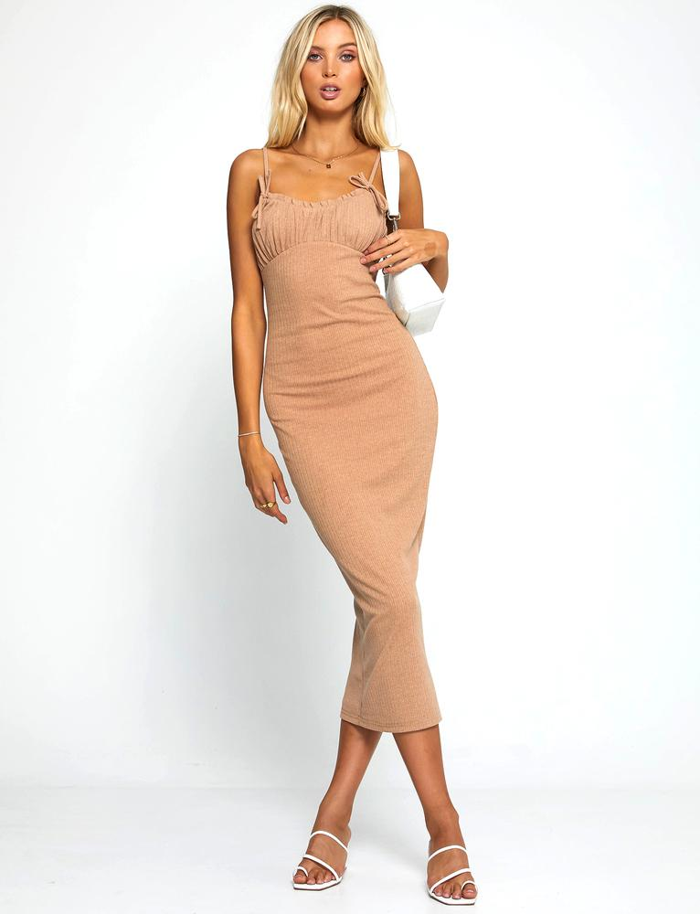 Doreen Midi Dress - Tan