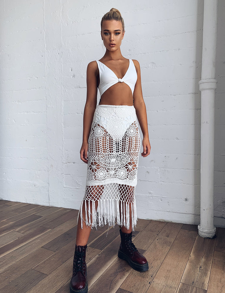 Wanderer Crochet Skirt - White