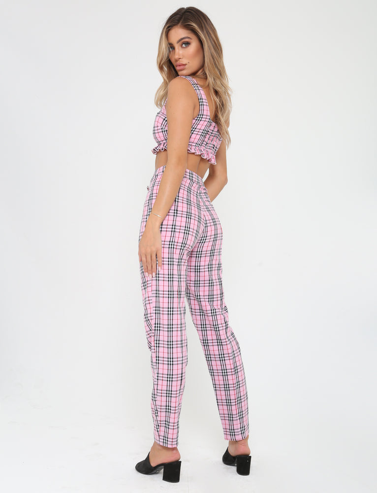 Clueless Pant - Pink Plaid