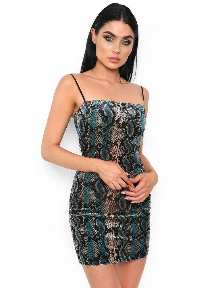 Devon Dress - Blue Snakeskin