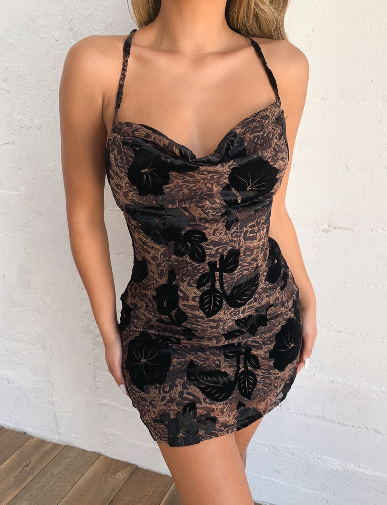 Kahlo Dress - Leopard Burnout