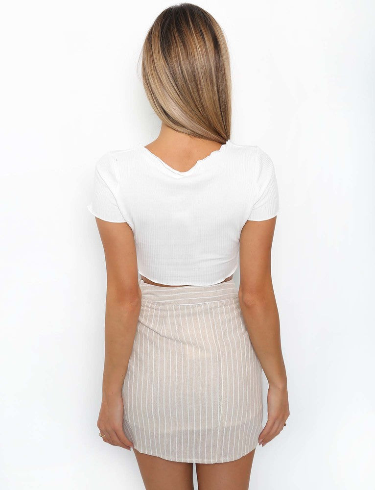 Coven Wrap Skirt - Beige Stripe