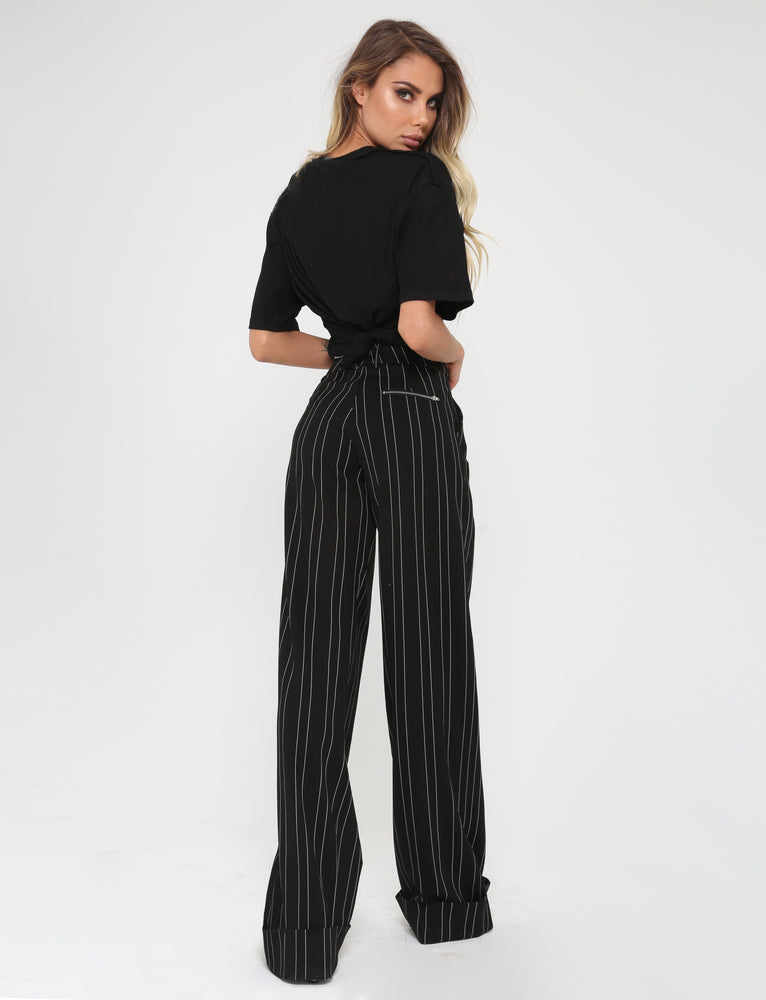 Mira Pant - Black/White Stripe