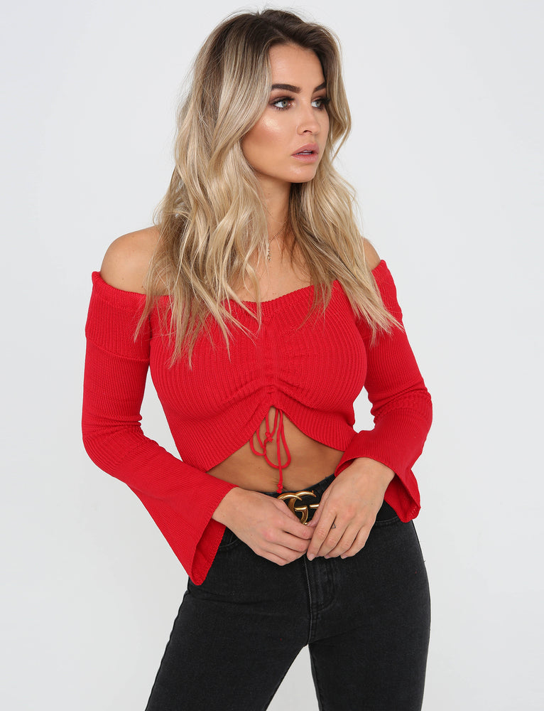 Sussex Off Shoulder Top - Red