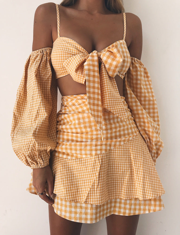 Double Time Skirt - Yellow Check