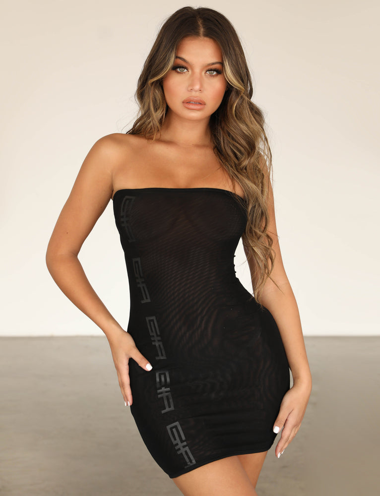 Minka Dress - Black Mesh