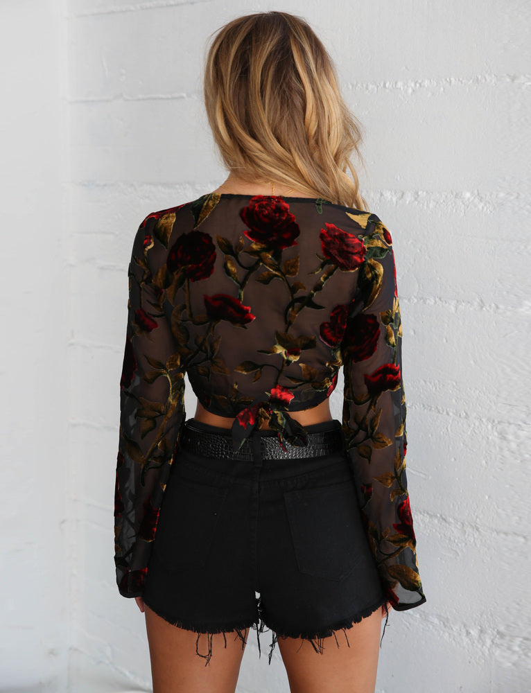 Kahlo Wrap Top - Rose Print