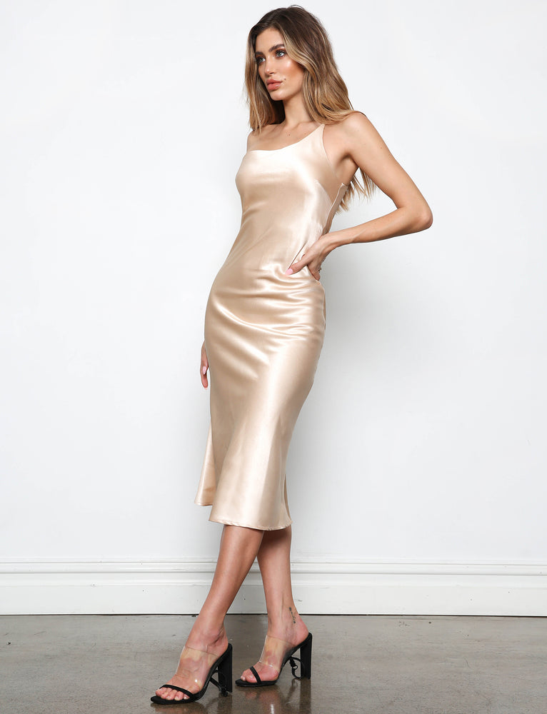 Yasmine Midi Dress - Champagne