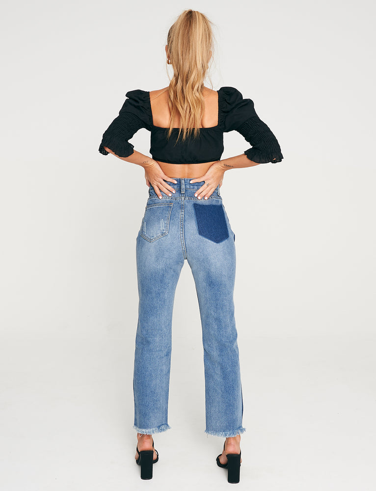 Two Tone Straight Leg Jean - Blue