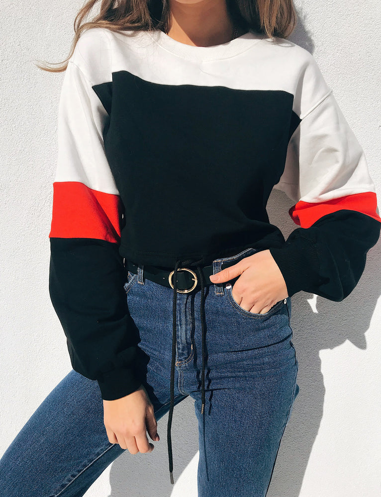 Marie Sweater - Black/Red/White