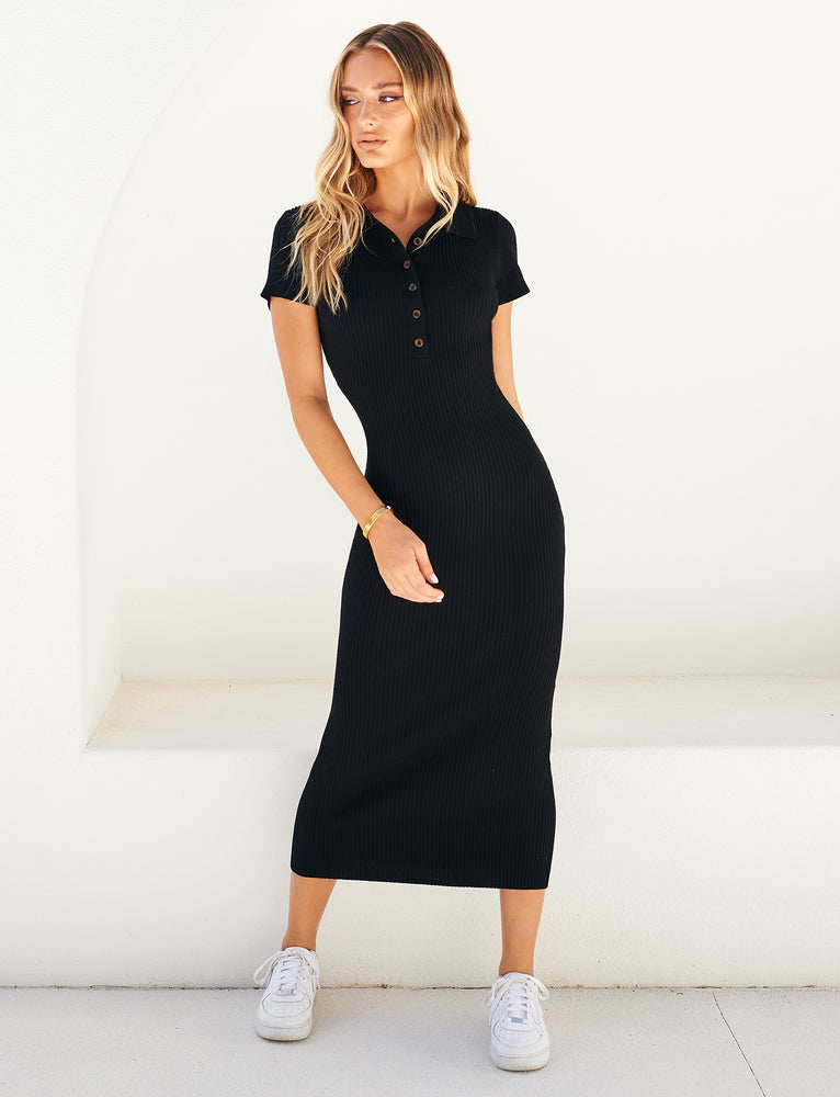 Alma Midi Dress - Black