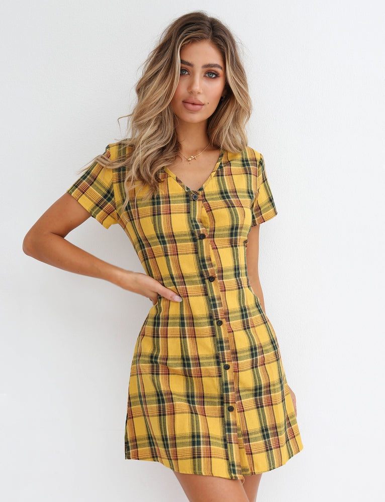 Little Miss Dress - Yellow Check