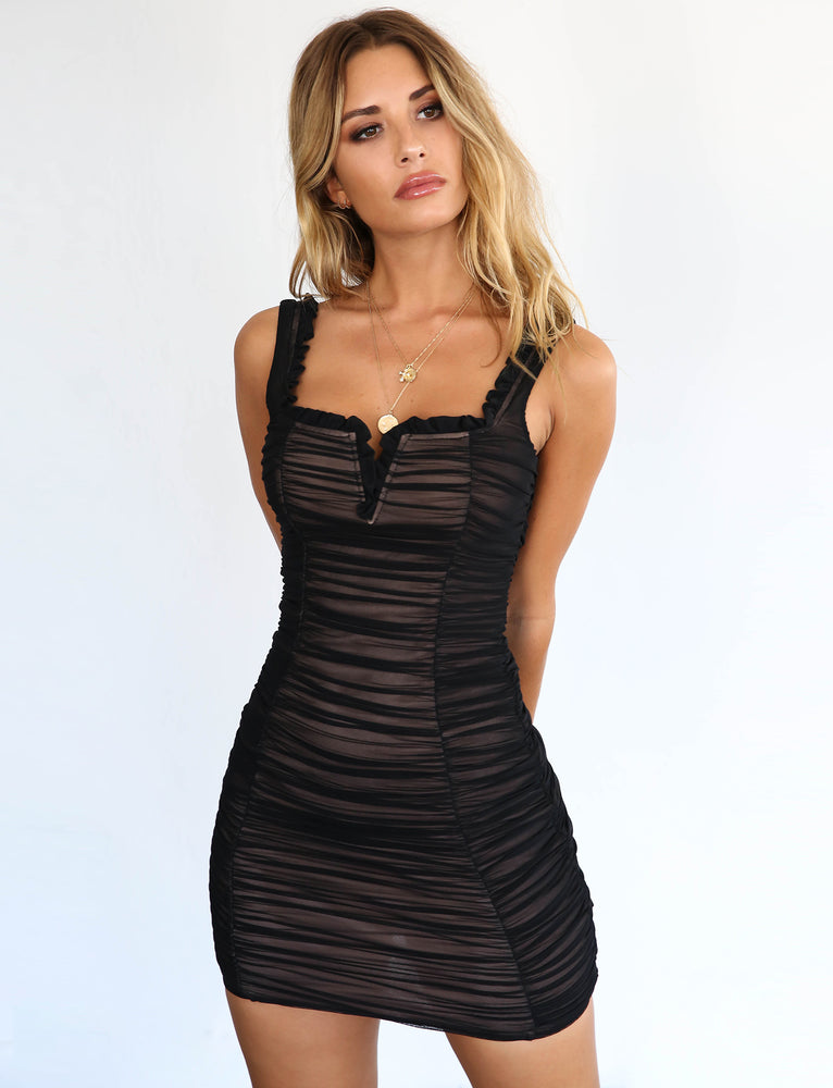 Afra Dress - Black Mesh