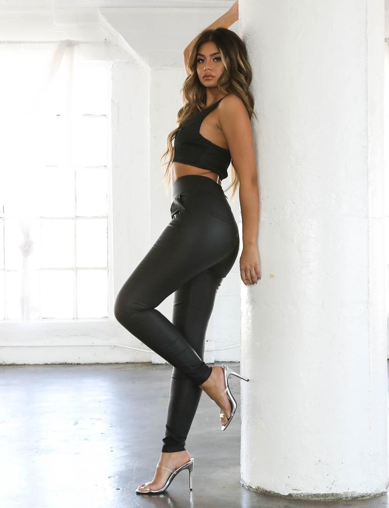 Back It Up Wetlook Pant - Black