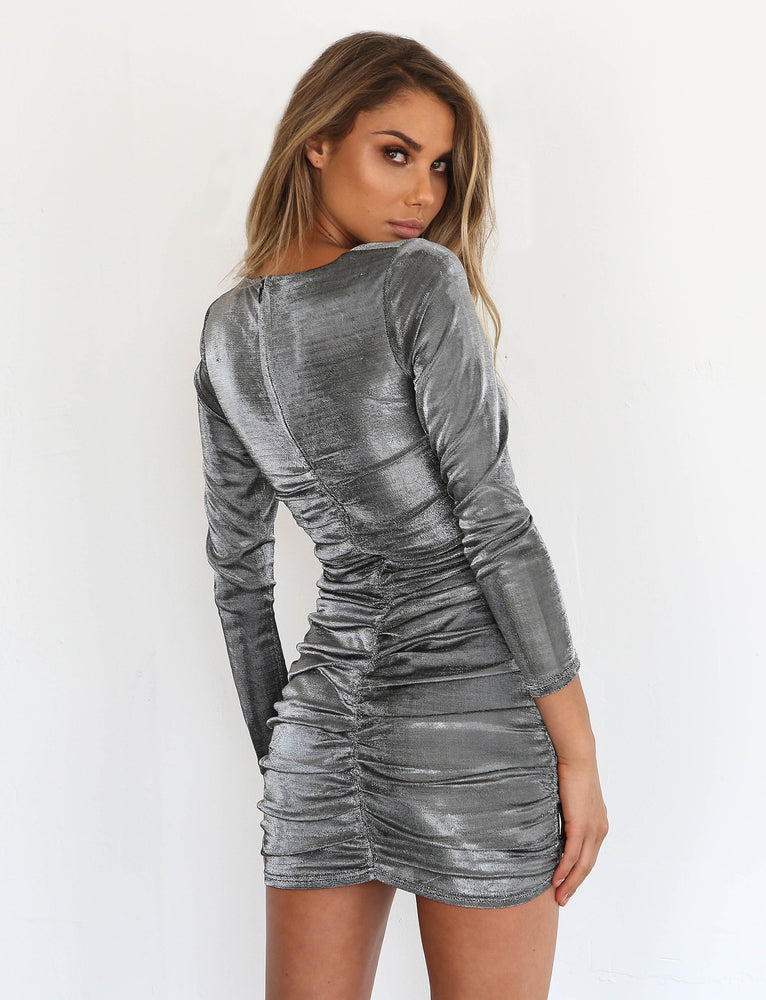 Belle Mini Dress - Silver