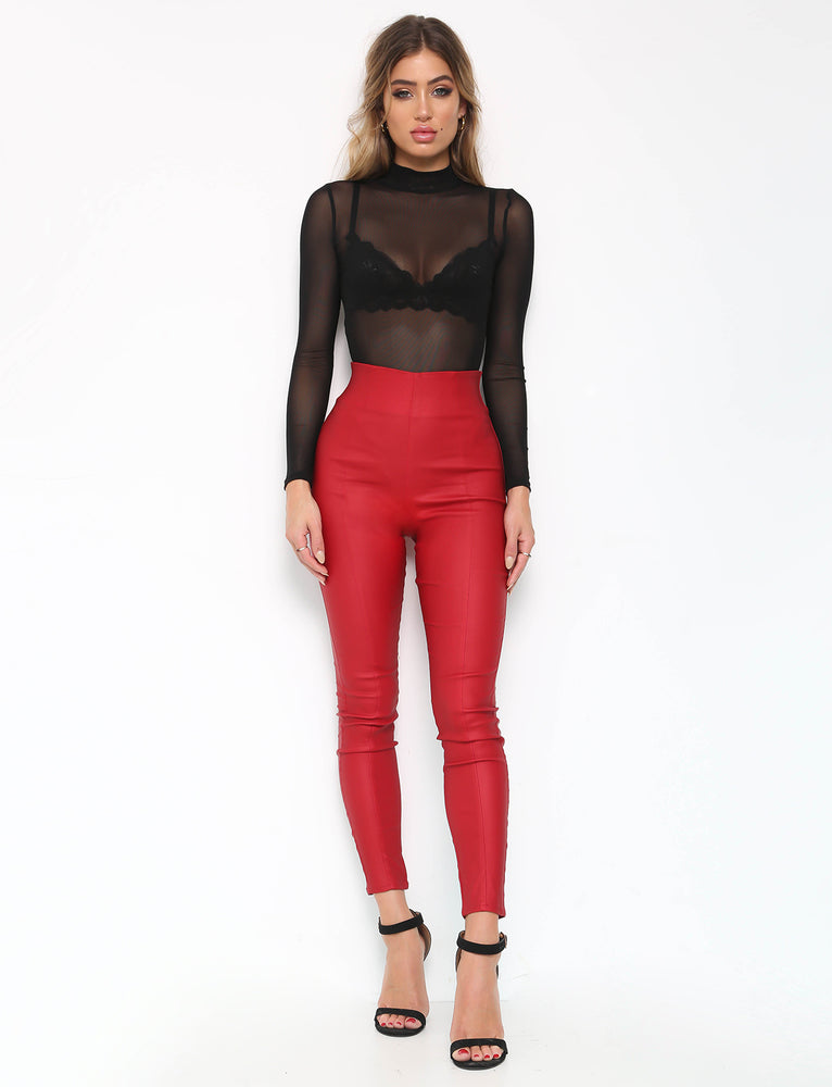 Back It Up Wetlook Pant - Red