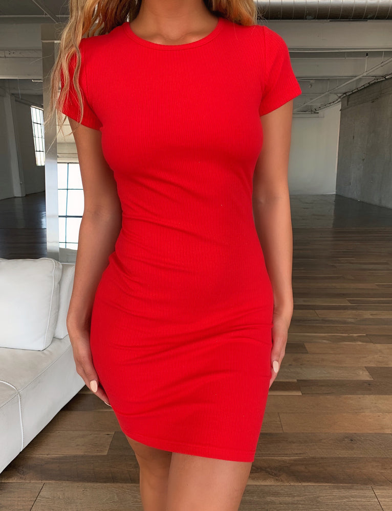 Baby Tee Dress - Red