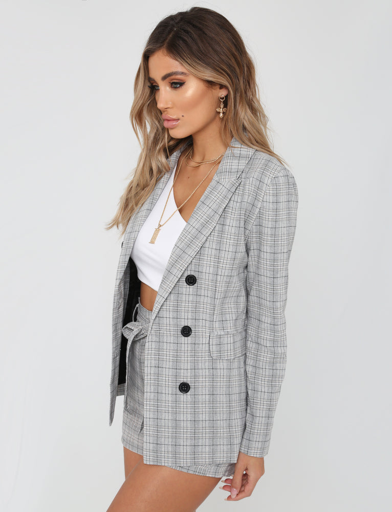 City Girl Blazer  - Grey Check