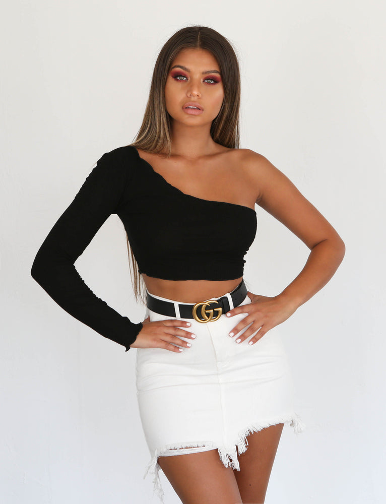 Willow One Shoulder Crop - Black