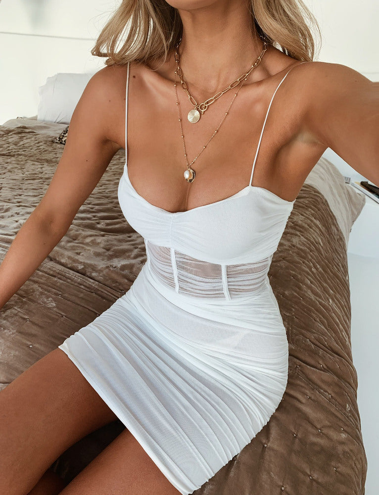 Sheer Eastside Dress - White