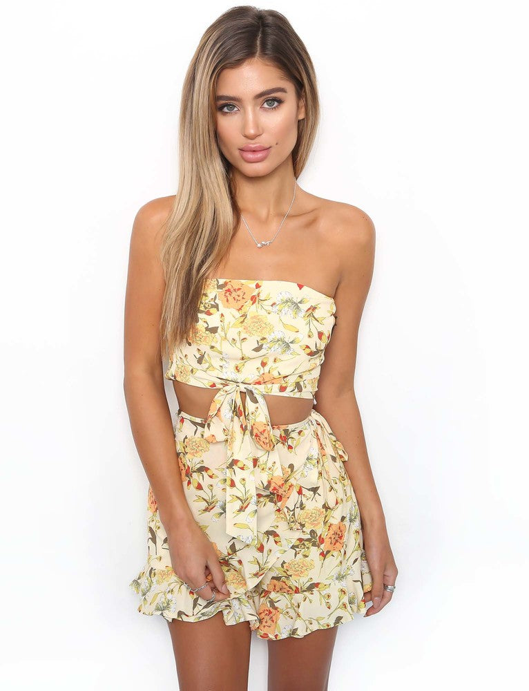 Haliwell Top - Yellow Floral