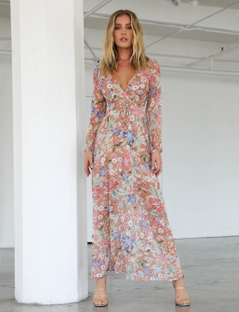 Eden Maxi Dress - Tan Floral
