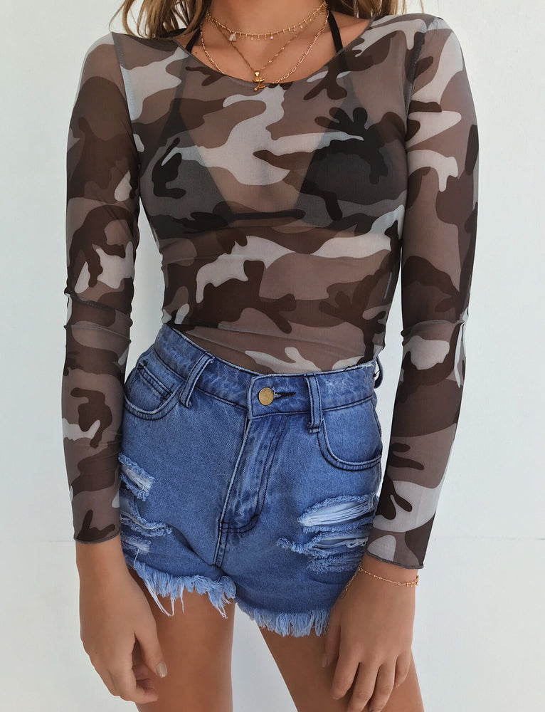 Disturbia Top - Grey Camo