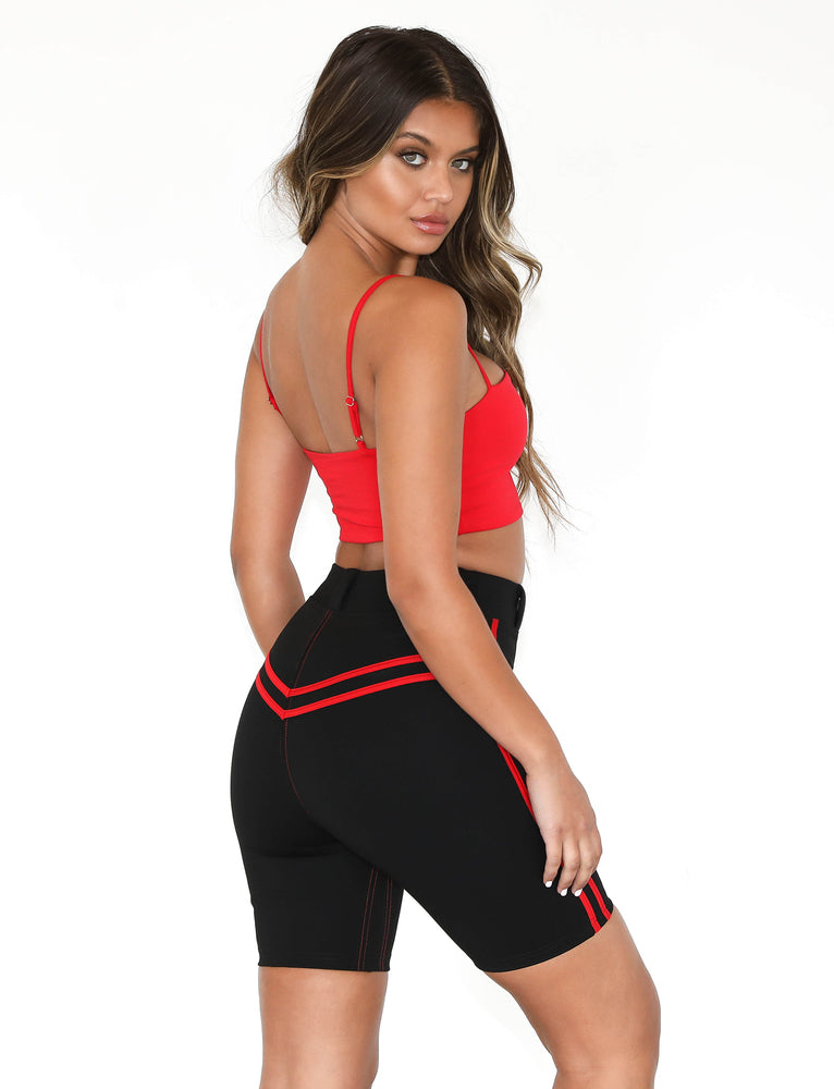 Astrid Bike Short - Black/Red