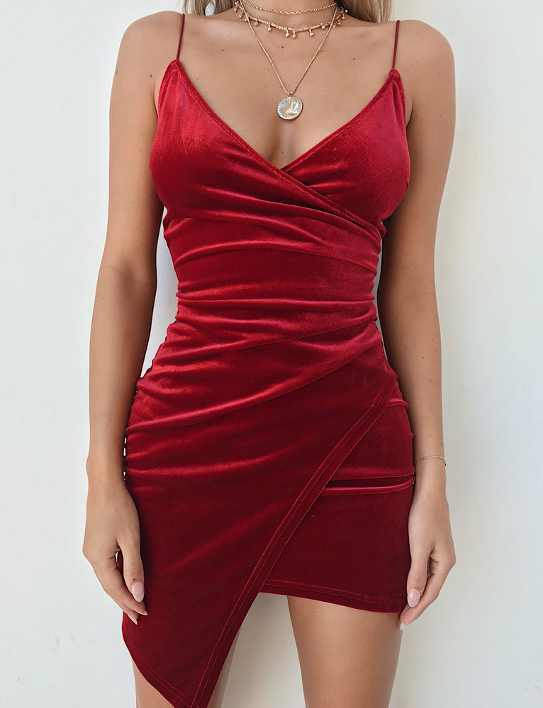 Lexi Velvet Dress - Cherry Red